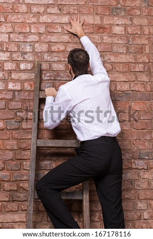Man at the end of his search up against a brick wall standing balanced at the top of a stepladder, nowhere else to go