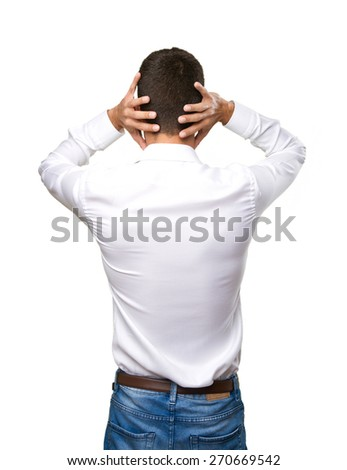 Man back covering his ears - stock photo
