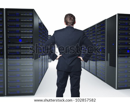 man back view and 3d server - stock photo