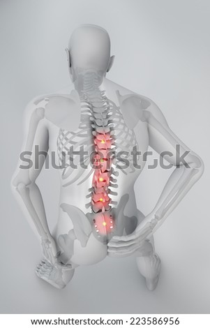 Man backache pain x-ray skeleton spine