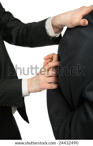 Man begins to break to other hand for  back - stock photo