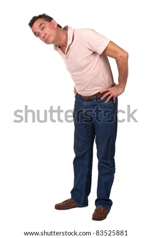 Man Bending Over Sideways to Look at Something - stock photo