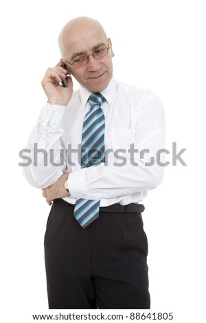 man bespectacled talk through telephone on white