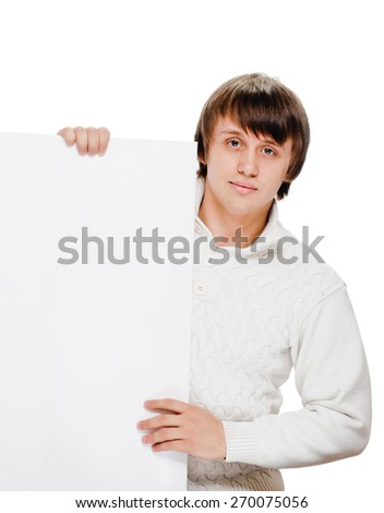 man billboard. Young handsome man showing blank white placard. - stock photo