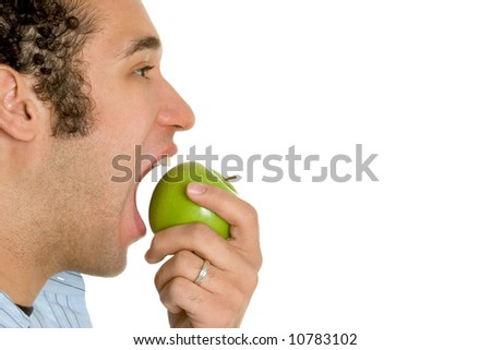 Man Biting Apple - stock photo