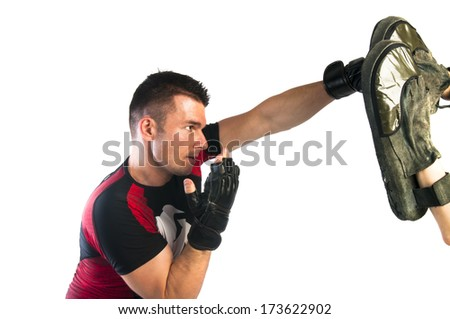 Man boxing in MMA gloves  isolated on white background - stock photo