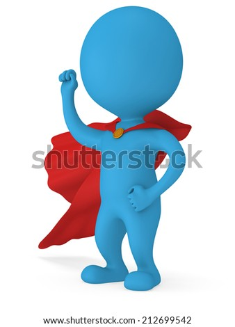 Man brave superhero with red cloak and sign of victory - right hand raised up clenched fist. Isolated on white 3d render. - stock photo