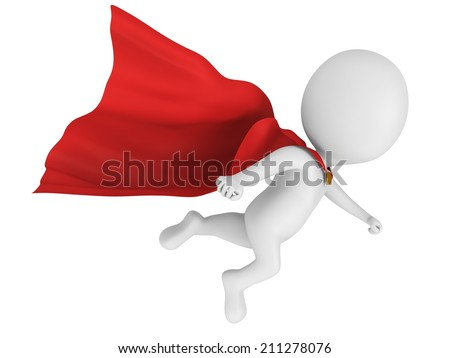 Man brave superhero with red cloak flying forward. Isolated on white 3d render. - stock photo