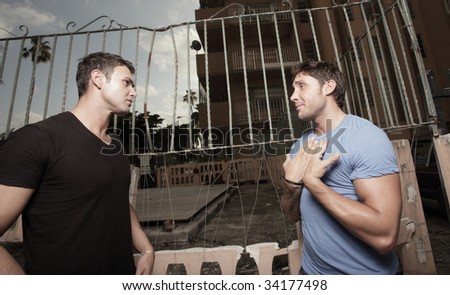Man breaking up with his boyfriend - stock photo