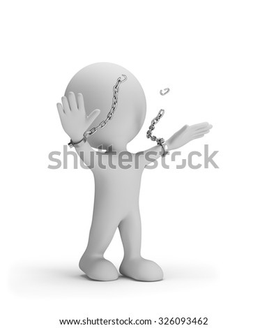 Man breaks the chains on his hands. 3d image. White background.
