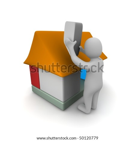 Man building house. 3d rendered illustration. - stock photo