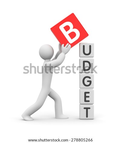 Man builds a budget - stock photo