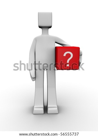 Man carrying a question mark cube box 3d illustration - stock photo