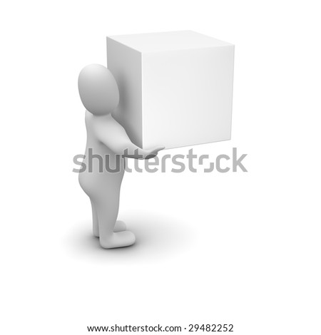 Man carrying blank box. 3d rendered illustration. - stock photo