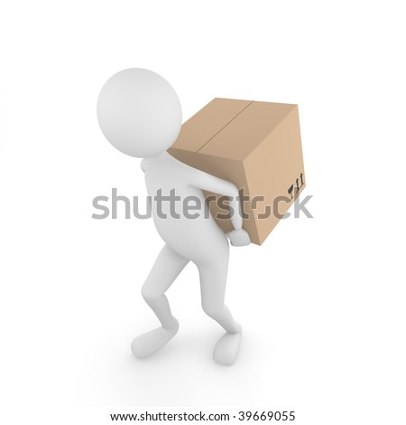 Man carrying box. 3D man carrying Fragile cardboard box behind the back. - stock photo