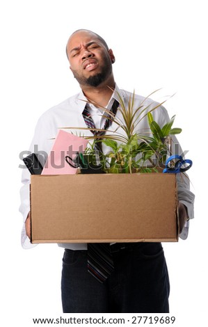 Man Carrying box with belongings after loosing job - stock photo