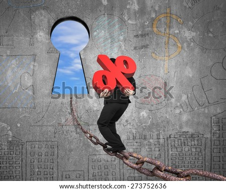 Man carrying 3D red percentage sign walking on old iron chain toward keyhole door, with sky clouds view and business concept doodles wall background - stock photo