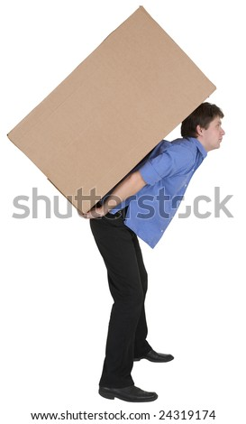 Man carrying heavy cardboard box. Courier holding large weight cargo isolated on white background - stock photo