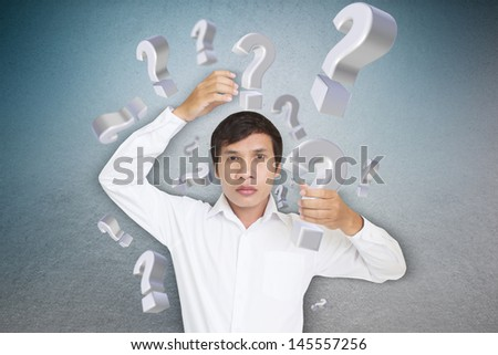 Man Carrying Question Mark,Part 2 Take It Out - stock photo