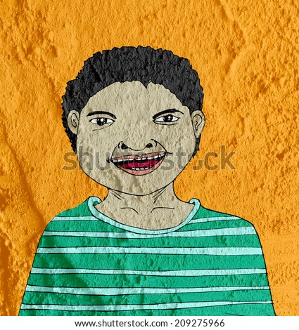 man cartoon on wall texture background design