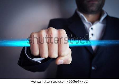 Man catch of blue light
