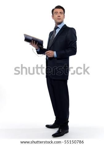 man caucasian professor historian holding ancient book full length isolated studio on white background - stock photo