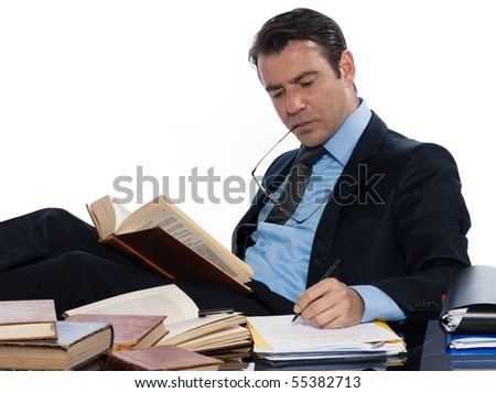 man caucasian teacher professor historian isolated studio on white background - stock photo