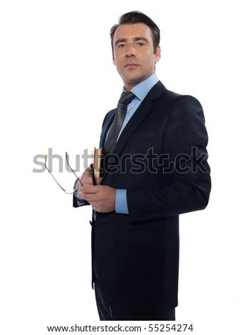 man caucasian teacher professor holding book isolated studio on white background - stock photo
