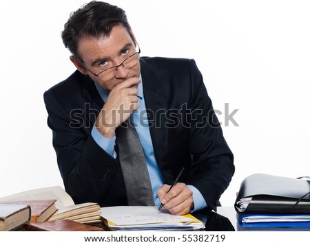 man caucasian teacher professor lecturing serious ponder isolated studio on white backgroun - stock photo