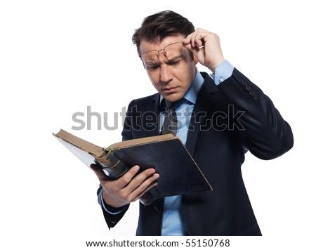 man caucasian teacher professor reading old book isolated studio on white background - stock photo