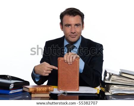 man caucasian teacher professor tutoring isolated studio on white background - stock photo