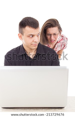 man caught in the act of love scam cheating over the internet on computer, cyber web infidelity - stock photo