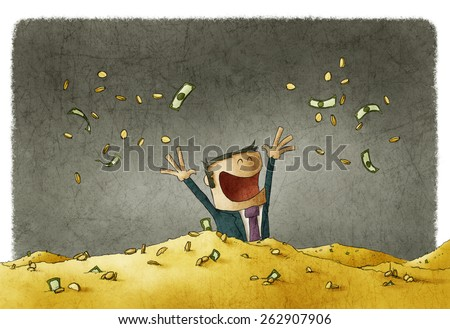 man celebrating his wealth - stock photo