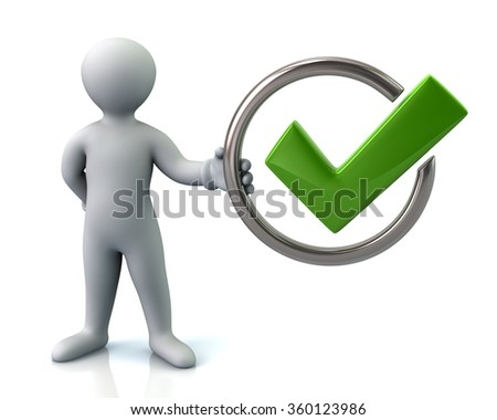 Man character holding tick sign isolated on white background - stock photo