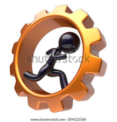 Man character inside gear wheel running businessman rotate cogwheel stylized black human cartoon guy hamster person worker gearwheel business career employment activity concept. 3d render isolated - stock photo
