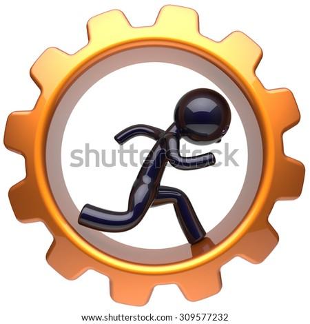 Man character inside gear wheel running businessman rotate cogwheel stylized black human cartoon guy hamster person worker gearwheel business career employment job hard concept. 3d render isolated - stock photo