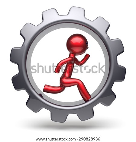 Man character running inside gearwheel businessman rotate cogwheel stylized red human cartoon guy hamster person worker black gear wheel business career employment concept. 3d render isolated on white - stock photo