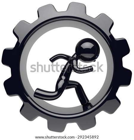 Man character stylized black human running inside gearwheel businessman rotate cogwheel cartoon guy person worker gear wheel business career employment concept. 3d render isolated on white background