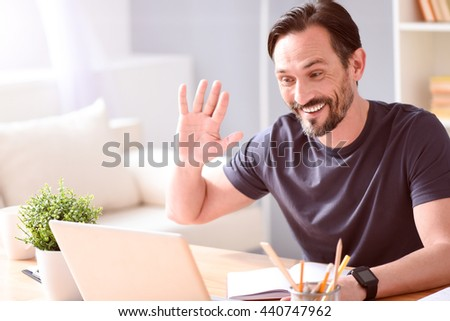 Man chatting on the laptop