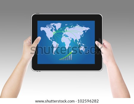 Man checking business growth on digital tablet PC