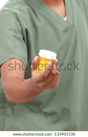 Man checking medications - stock photo