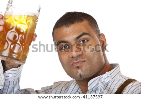 Man cheers with Oktoberfest beer stein (Mass) into camera. Isolated on white. - stock photo
