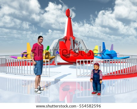Man, child and amusement ride Computer generated 3D illustration