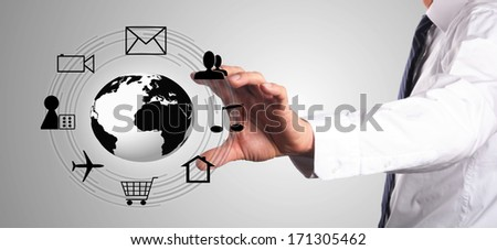 man chooses a interaction on the internet, such as playing game, chatting, looking for a house and so on - stock photo