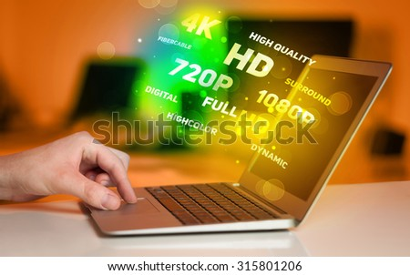 Man choosing display resolution concept - stock photo