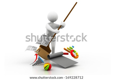 Man cleaning the business chart - stock photo