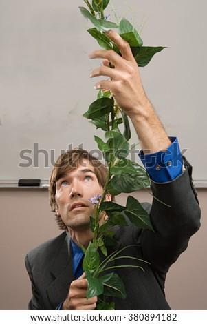 Man climbing a stem - stock photo