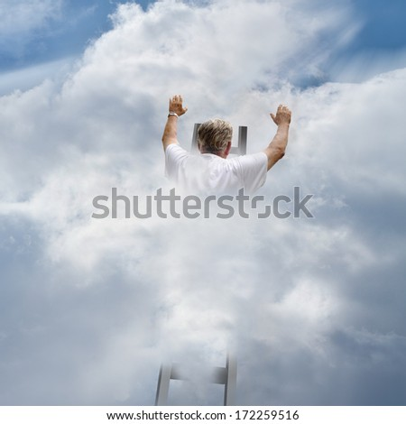 Man climbing ladder to the heavens in search of God - stock photo