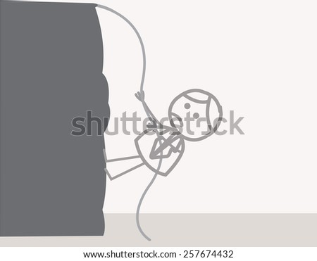 Man climbing mountain - stock photo
