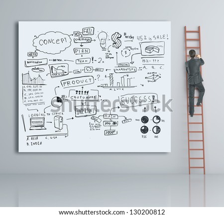 man climbing on ladder and business plan - stock photo